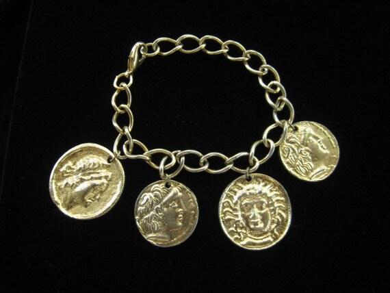 Vintage Roman Greek Coin Dangling Charm Bracelet
