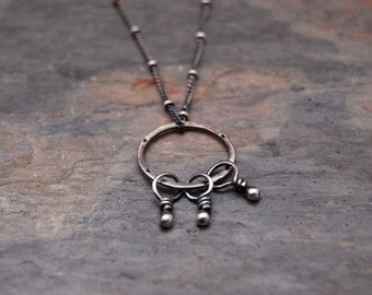 Fiona - Encompass - Roundelle Three Dangles Pendant Necklace in Sterling Silver