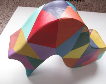 Ceramic Sculpture Abstract Colorful Lays Sits Stands Wavy Clay Geometric