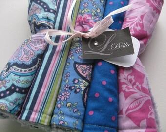"Burp Cloth Set of 5 ""Girly Birthday Fun"" Polka Dots Amy Butler Paisley Charm Girl"