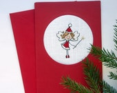Cross stitch Christmas card - red and white Christmas fairy