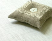 linen and lace - embroidered pincushion