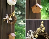 Small wreath with linen ornament and bird house - mobile