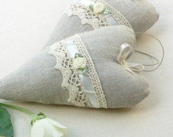 romantic linen hearts ornaments