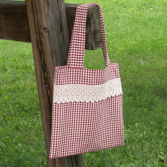 Summer Bag -  Red and White Gingham and LaceTote