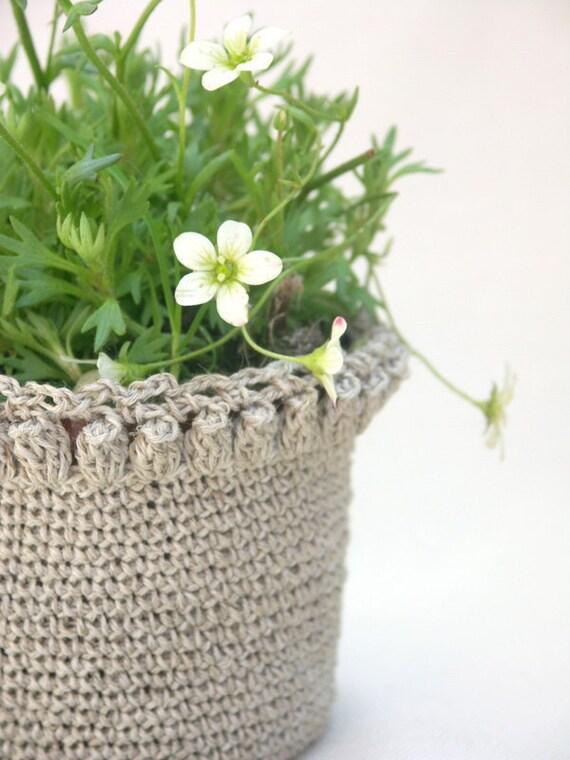 linen crochet plant cosy