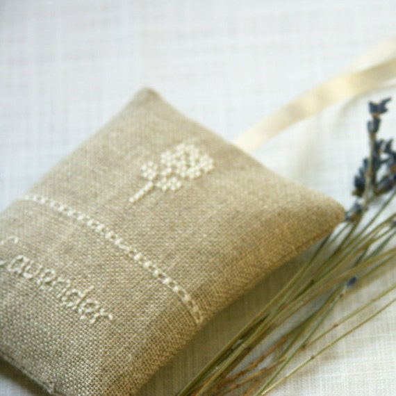 lavender, linen and lace - embroidered lavender sachet