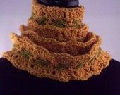 Golden Aspens, Long Italian Merino Wool Scarf, Original Design