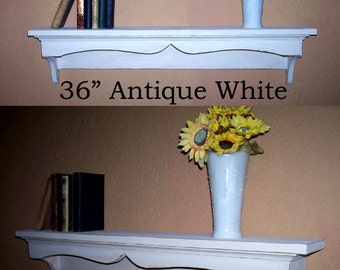 Shabby Chic Wall Shelf Traditional Style 36inch in your choice of color