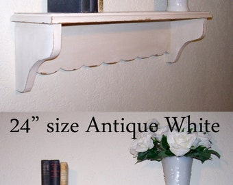 Cottage Style Shabby Chic Wall Shelf 24inch in your choice of color