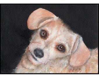 Calliope - A Terrier Dog Puppy ACEO Art Trading Card Original Acrylic Painting by Vylestrya Zayn