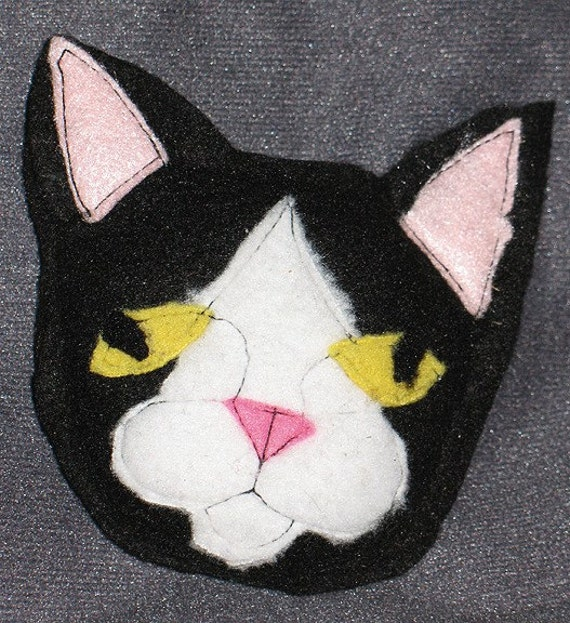 Black Tuxedo Cat Head Organic Catatonic Catnip Cat Toy