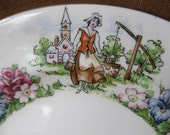 Vintage Crown Staffordshire Evanglines Arcadian Gardens Bread and Butter Plate