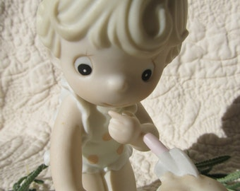"Precious Moments ""His Little Treasure"" Figurine - Child at Beach"