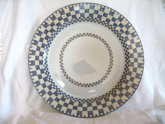Dansk Checkar Blue Round Serving Platter