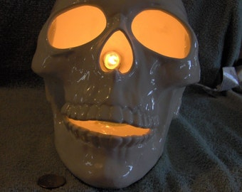 Light Up Large Sized Human Skull Made of Ceramic Awesome