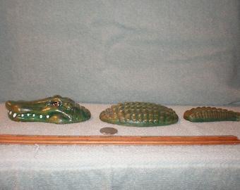 Three Piece Ceramic Alligator  Head Body Tail