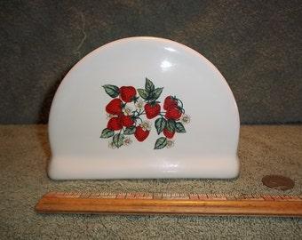 Pretty Ceramic Napkin Holder With Strawberries / Strawberry pattern.