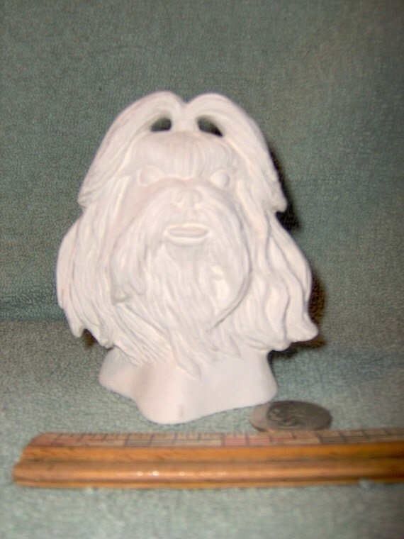 Shih Tzu Dog Bust Head  in Ceramic Bisque to be Painted