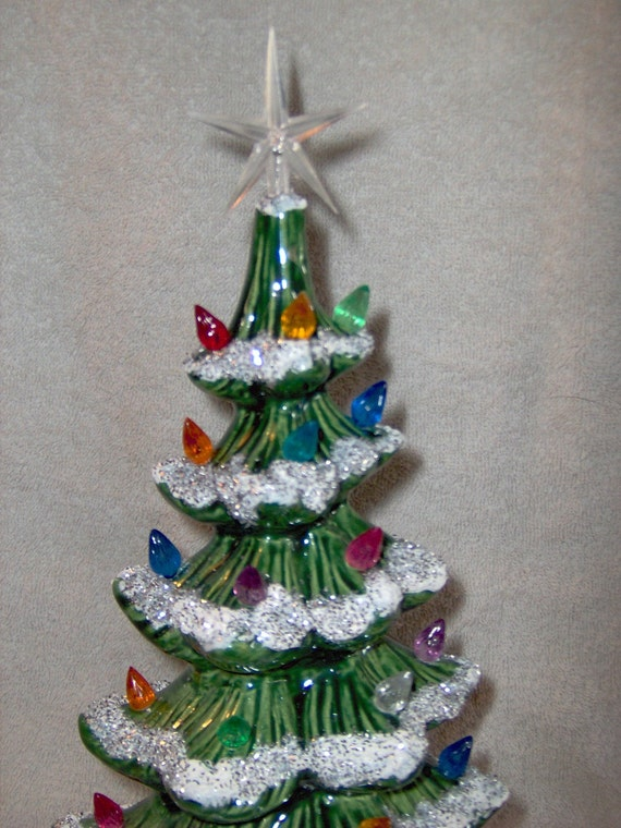 Very pretty Lighted Ceramic Christmas Tree  Mantle Window Sill Flat Back