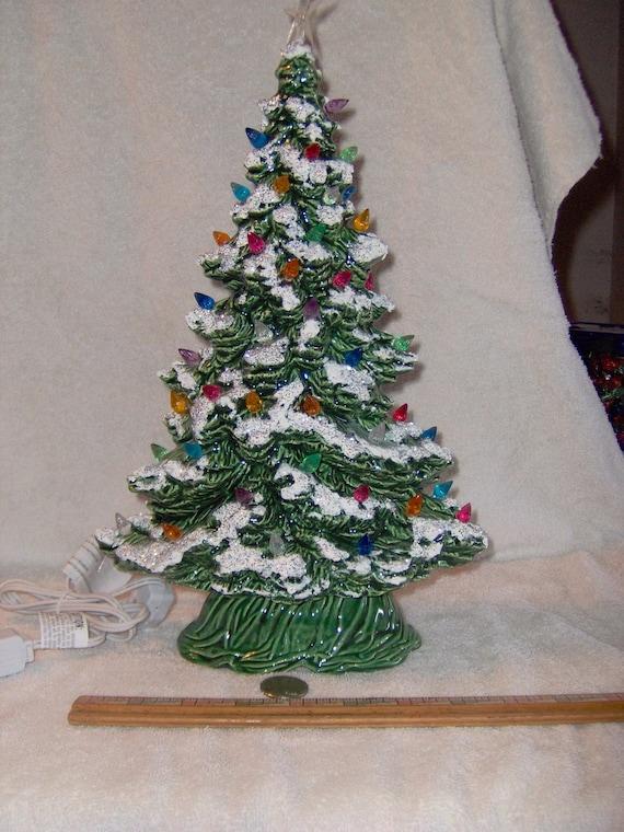 Pretty Green Glazed Ceramic Christmas Tree Mantle By