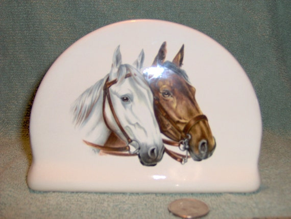 Horses / Horse  Napkin Holder For Paper Napkins Made of Ceramic