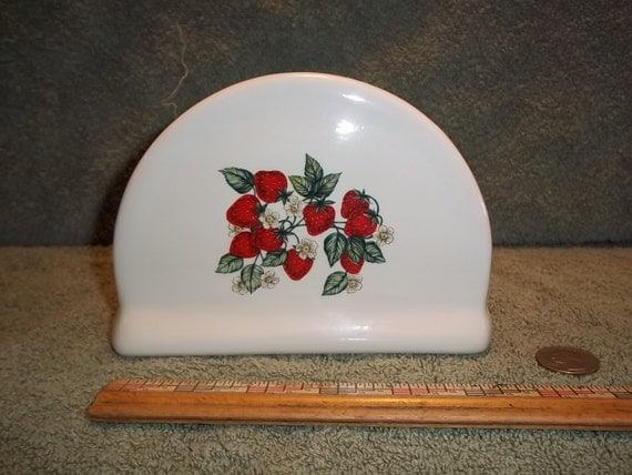 Pretty Ceramic Napkin Holder With Strawberries / Strawberry pattern.