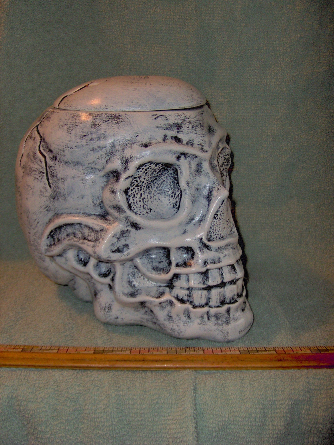 Awesome Human Skull Cookie Jar Box Made Of Ceramic