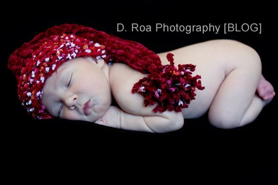 Photo Prop Baby Hat HOLIDAY CANDY Stocking Cap READY TO SHIP or Santa Baby Hat