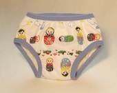 Matroyshka Doll with Periwinkle Trim - Unbleached Organic - Waterproof Training Pant- (Size 3/4T)