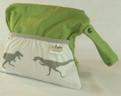 "Grey Dinosaurs on Olive Canvas - Waterproof Clutch - New Zippered Diaper Clutch with Pocket and Strap - Small 11"" X 9"""