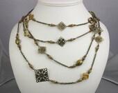 Long Antique Brass, Prehenite and Czech Glass Bead necklace
