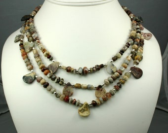 Three Strand Agate Necklace