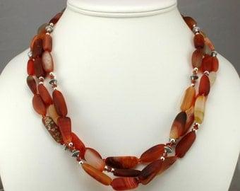 Three Strand Carnelian Necklace