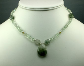 Green Amethyst and Moss Agate Necklace