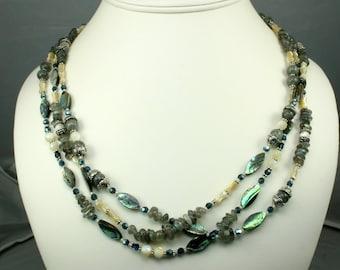 Three Strand Paua Shell Necklace