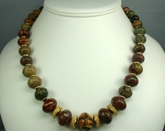 Red Creek Jasper and Gold Necklace