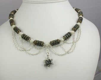 Czech Glass and Sterling Silver Necklace