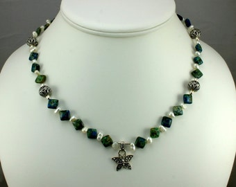 Amazonite and Pearl Necklace with Marcasite Butterfly Pendant