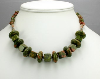 Unakite Nugget Necklace