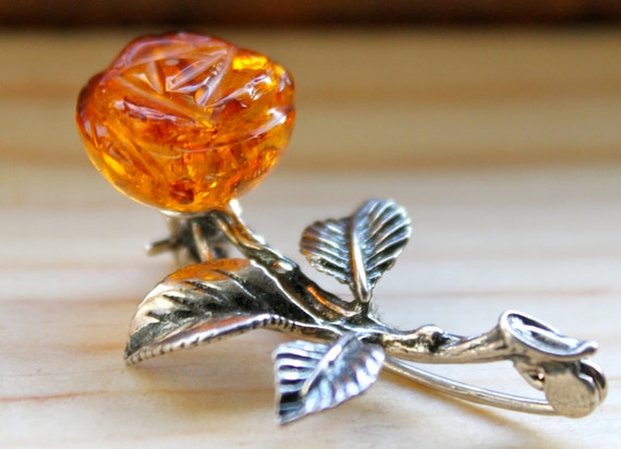 Carved Amber Rose Sterling Pin Brooch