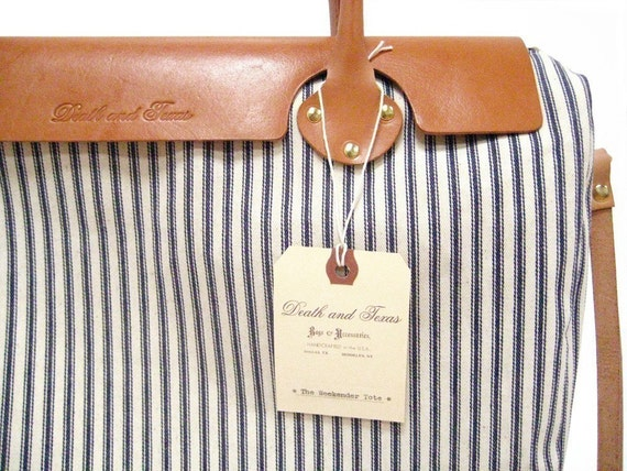 The Weekender Tote in Blue and White Striped Ticking