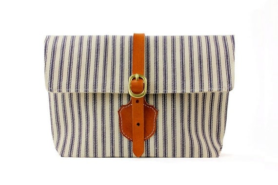 The Shield Clutch in Blue and White striped ticking