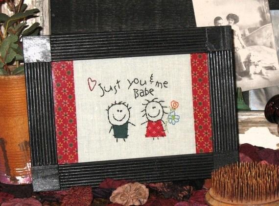 Primitive Couple - Framed Stitchery