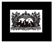 "Kitties Hiding in the Hollyhocks - Print in black 8"" x 10 "" mat"