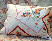 Up-cycled Vintage Linen Pillowcase Pillow - pink/red/blue/green - Kate Corbett