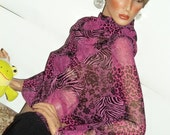 Sheer, Sexy Travel Tunic Top, HOT Pink, Made in USA  One Size, Baby bump Coverup Batwings & Unique HOT singed look under 25 dollars