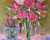 Print of Oil Painting PInK ROSES Shabby CHIC of Modern Impressionism Pink Roses 11x14