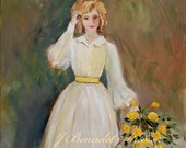 Fine Art Print Shabby Chic Cottage Impressionist Yellow Vintage woman 11x14