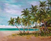 Print of Original oil painting by impressionist J. Beaudet Tropical Oasis
